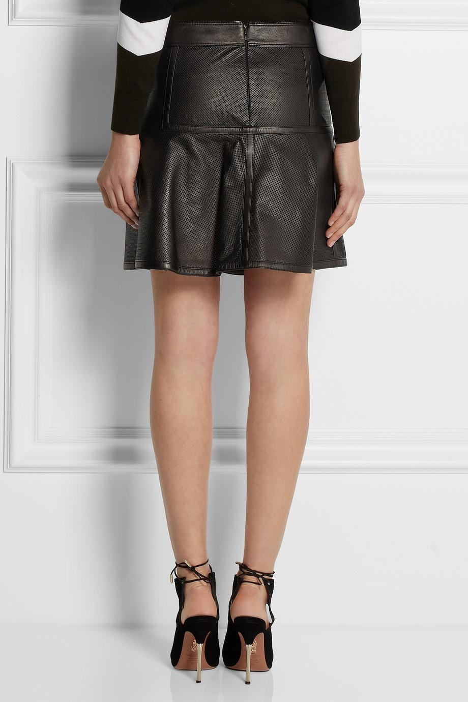 belstaff brompton perforated leather mini skirt in black