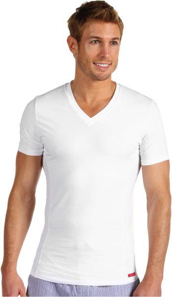 Calvin klein pro stretch slim fit vneck in white for men for Calvin klein slim fit stretch shirt
