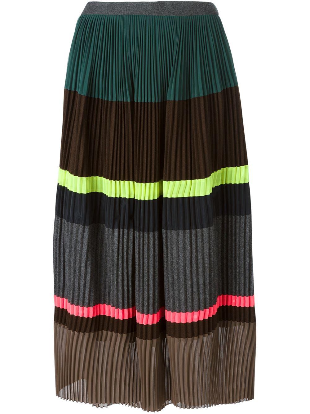 kolor striped pleated skirt lyst