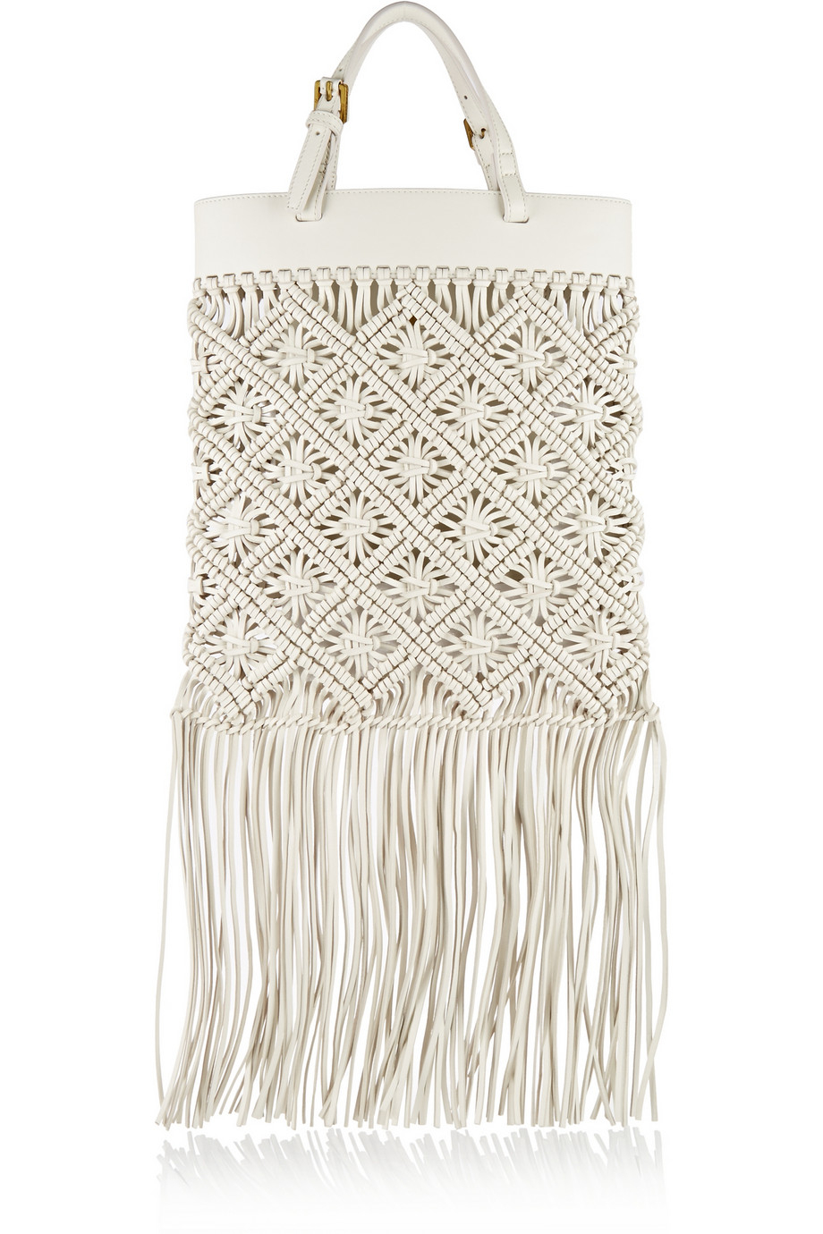 Lyst Tory Burch Fringed Macram 233 Leather Tote In White