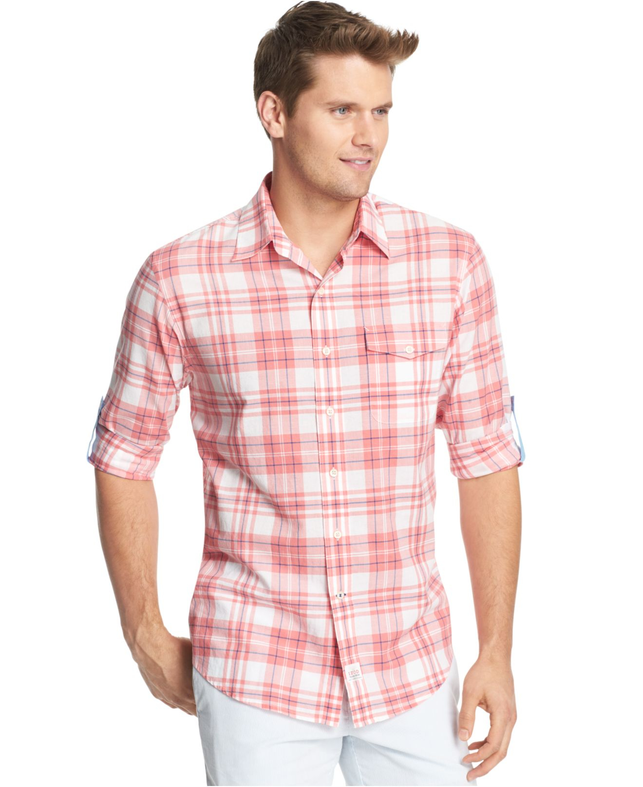 Lyst izod lightweight plaid pocket long sleeve shirt in for Lightweight plaid shirt womens