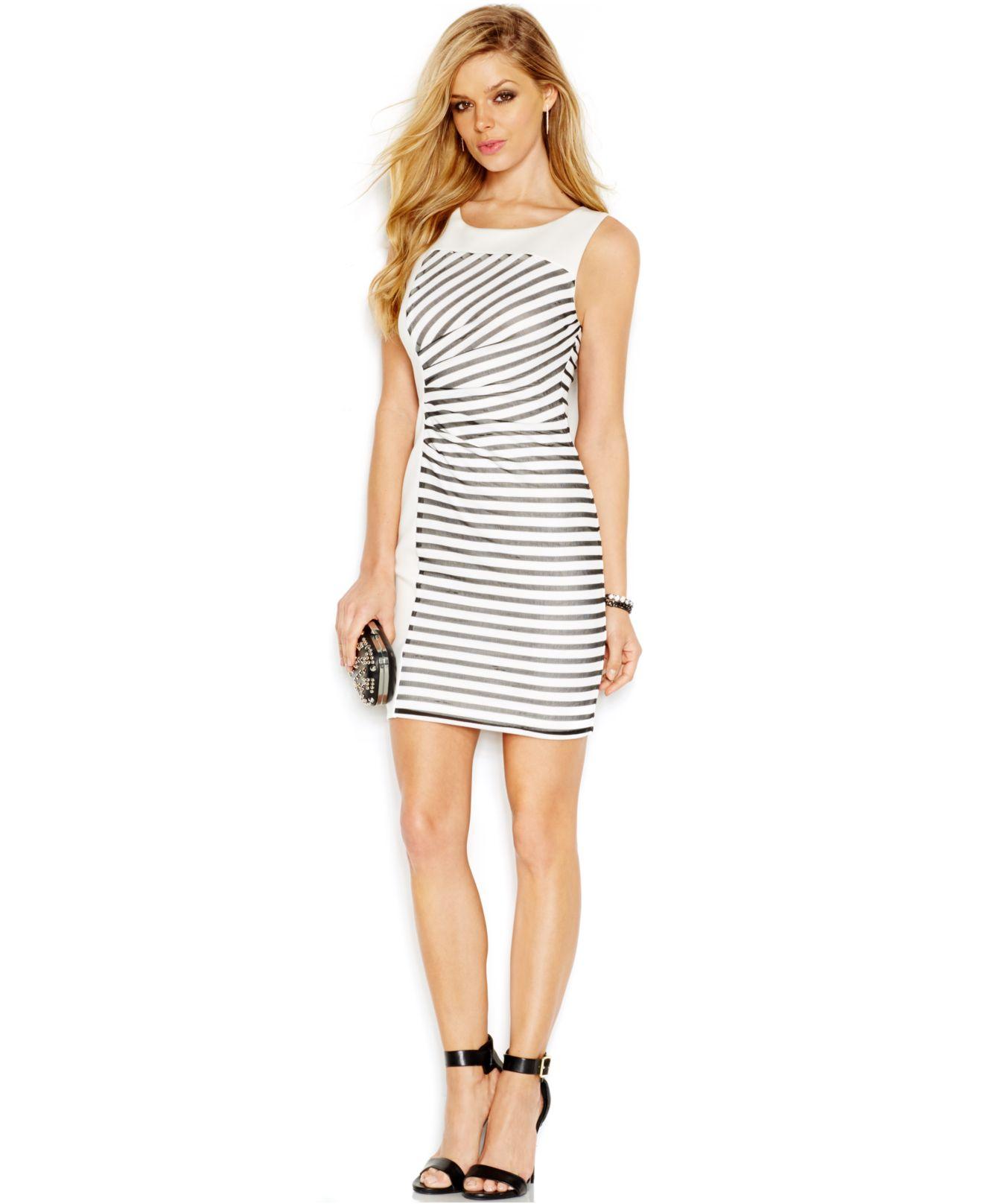 d3f680410a9dc Lyst - Guess Mesh-Stripe Colorblock Body-Con Dress in Black