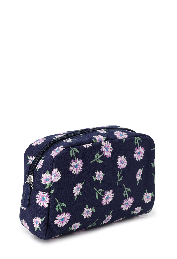 Forever 21 Floral Print Cosmetic Bag In Blue | Lyst