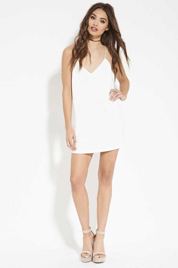 79fdf8de32 Lyst - Forever 21 Cami Shift Dress in White