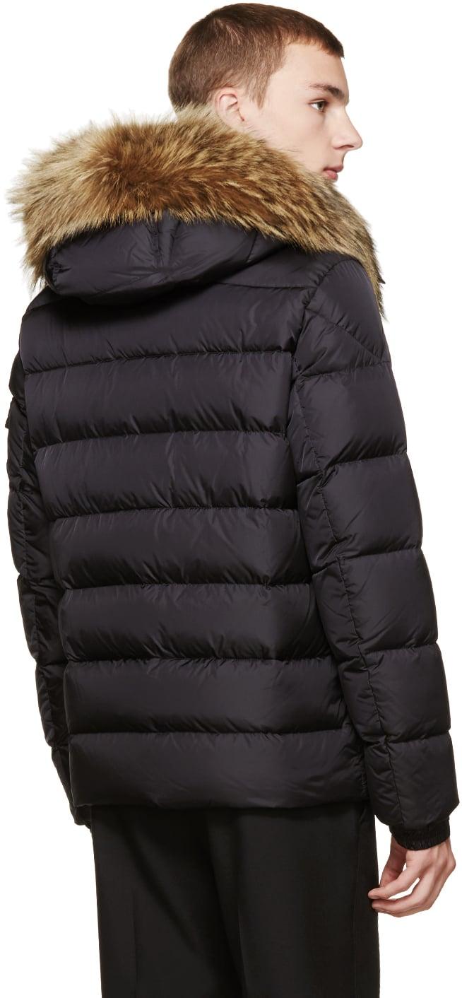 moncler black fur hooded jacket men's