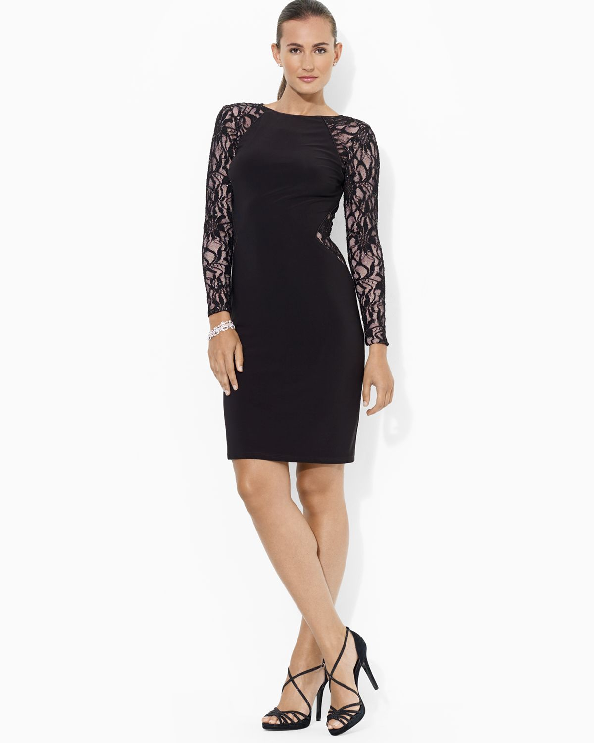 Ralph Lauren Lauren Dress Stretch Sequin Lace And Matte