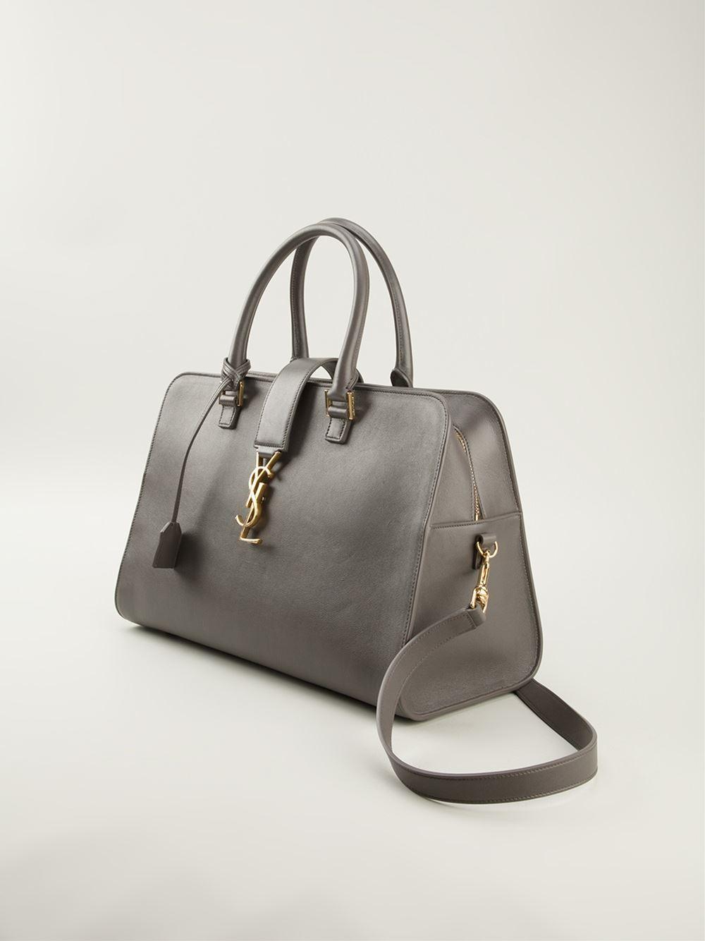 yve saint laurent purses - monogram small zip-around satchel bag, gray