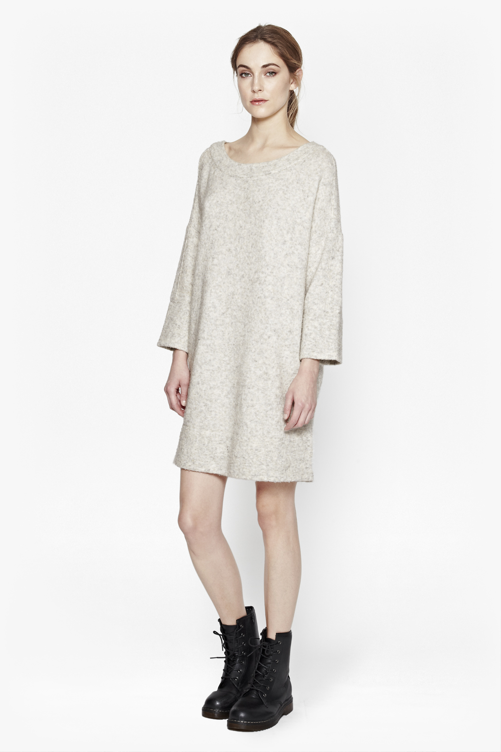 connection flossy oversized knit in white lyst