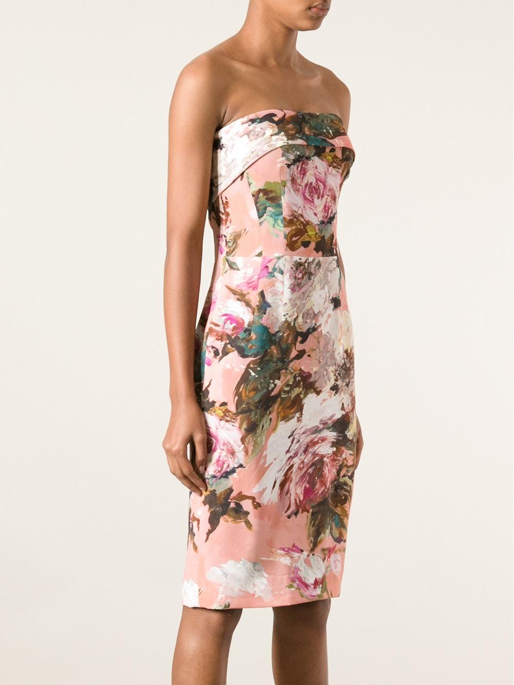 Dolce &amp gabbana Strapless Floral Dress  Lyst