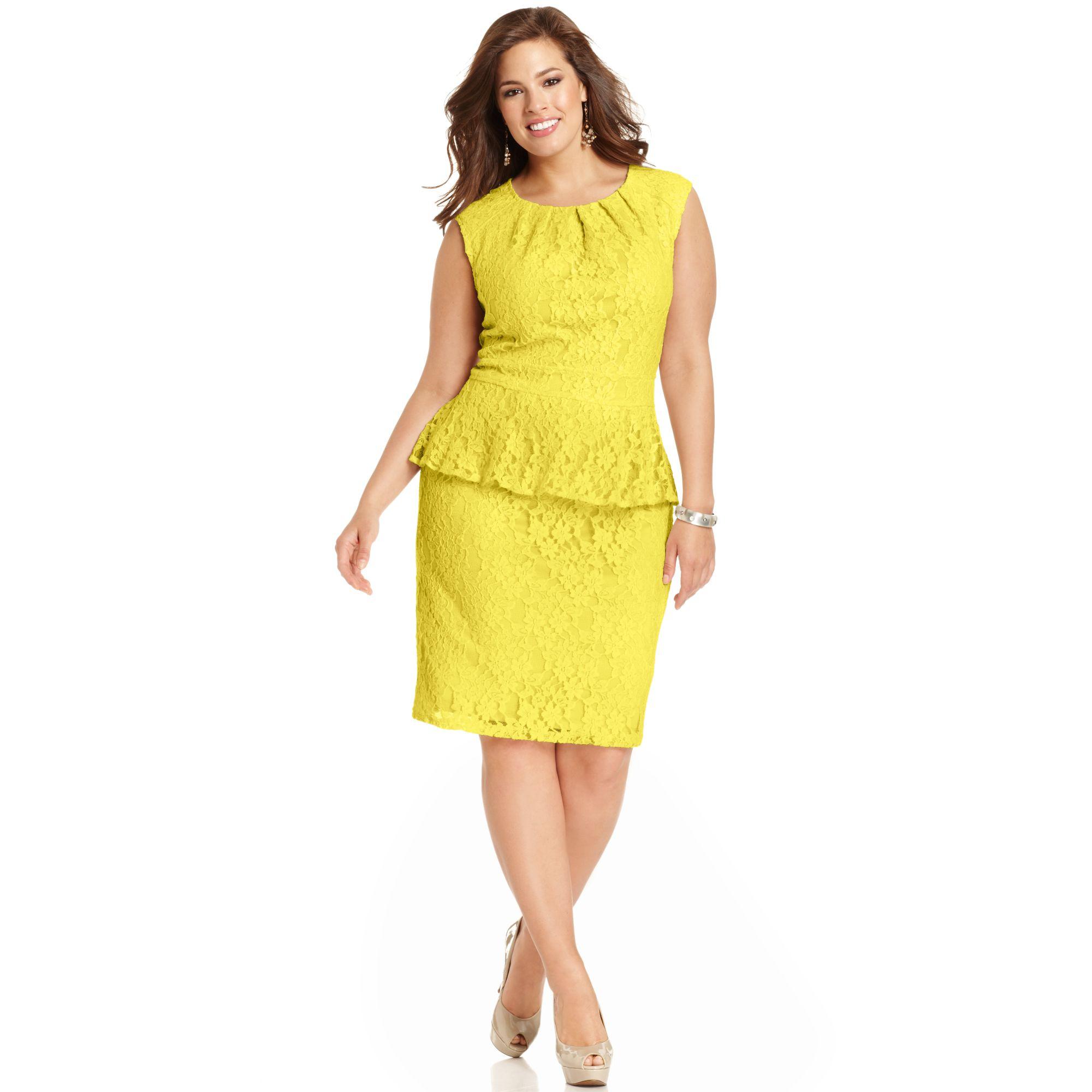 Lyst - Spense Plus Size Capsleeve Lace Peplum Dress in Yellow