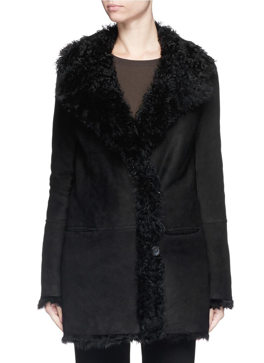 Theory &39abrienda&39 Reversible Lambskin Shearling Coat in Black | Lyst