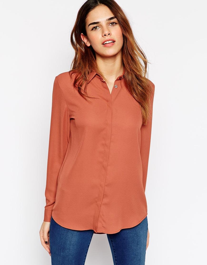 Brilliant Chocolate Brown Satin Blouse Womens Shirts - Collar Blouses