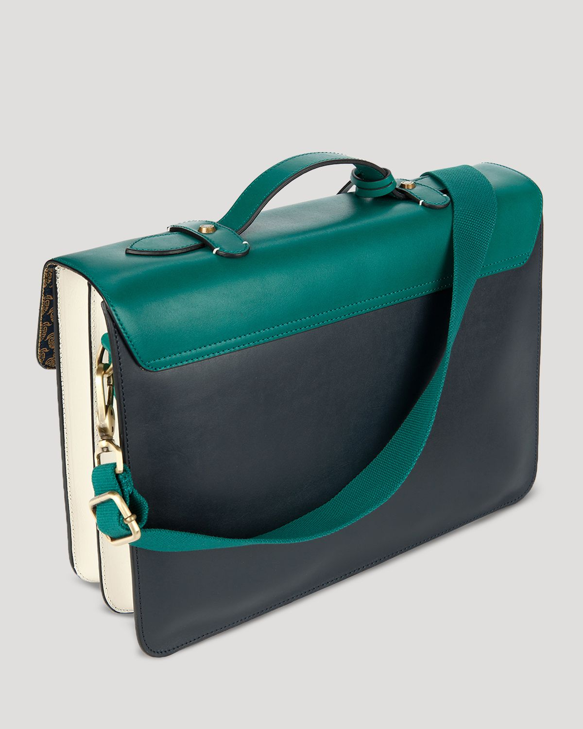 4264d4ce3eabfc Lyst - Ted Baker Harlemm Mixed Leather Satchel in Green for Men
