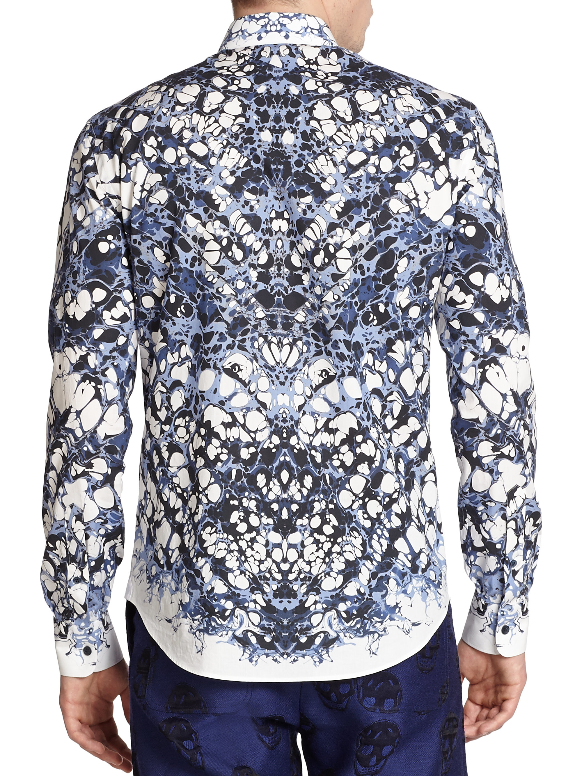 Lyst Alexander Mcqueen Marble Shirt In Blue For Men