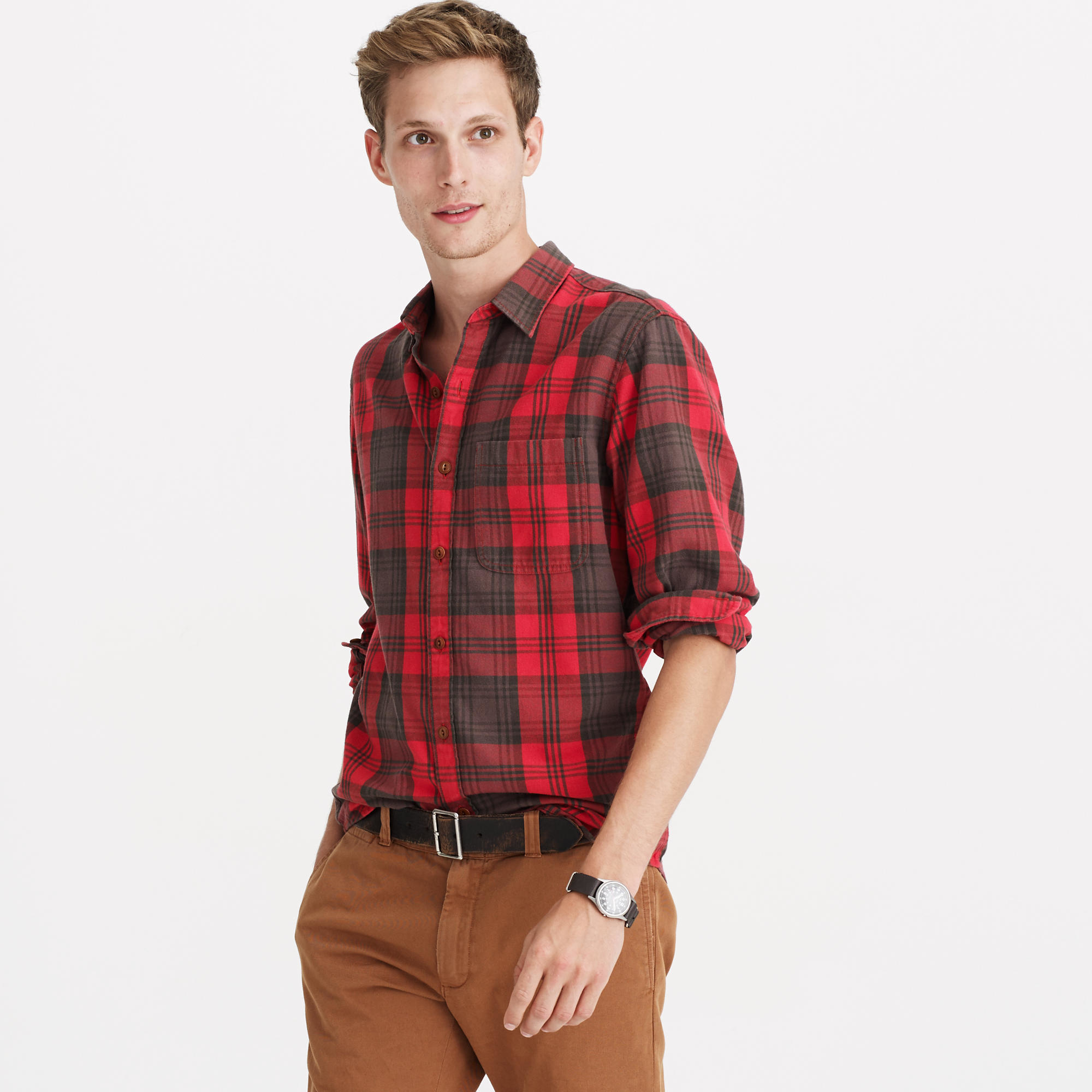 Tall midweight flannel shirt in dark brown plaid in for J crew mens outfits