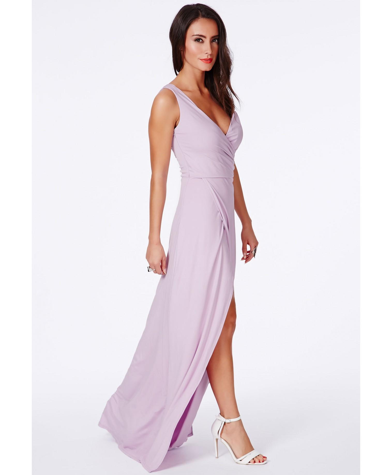 Missguided Koemi Lilac One Shoulder Bustier Split Maxi Dress in ...