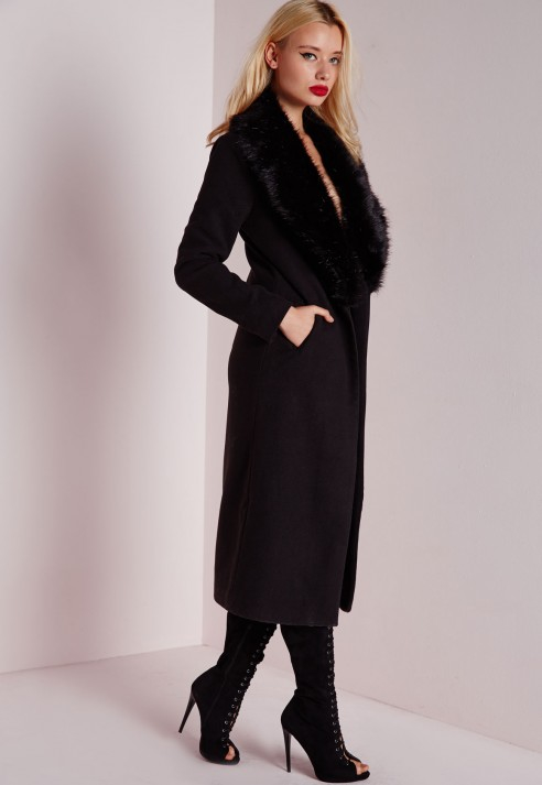 eed13d97c67b Missguided Longline Faux Wool Coat With Faux Fur Collar Black in ...