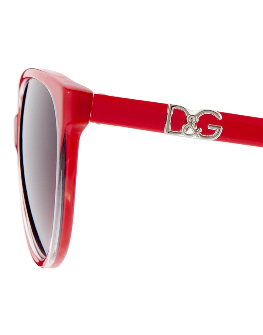 Dolce And Gabbana Red Sunglasses  dolce gabbana dolce and gabbana cateye logo sunglasses in red lyst