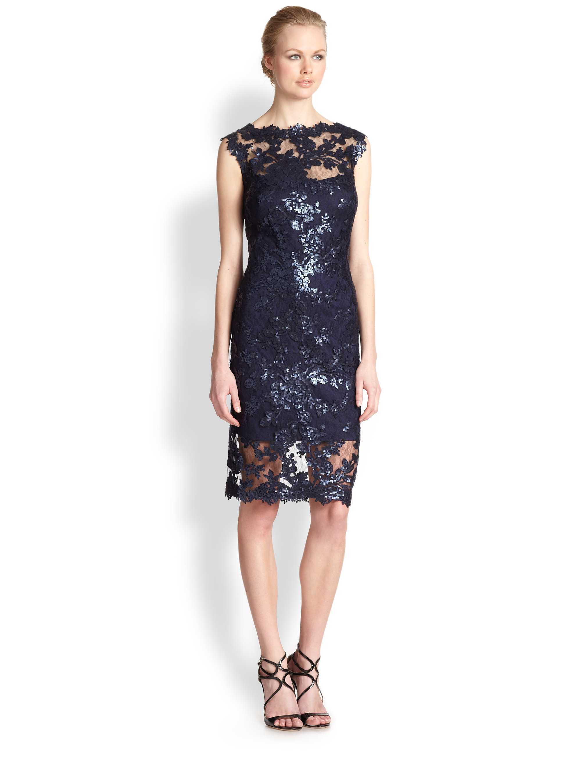 26c2cd1ea70eec Tadashi Shoji Sequined Lace Dress in Blue - Lyst