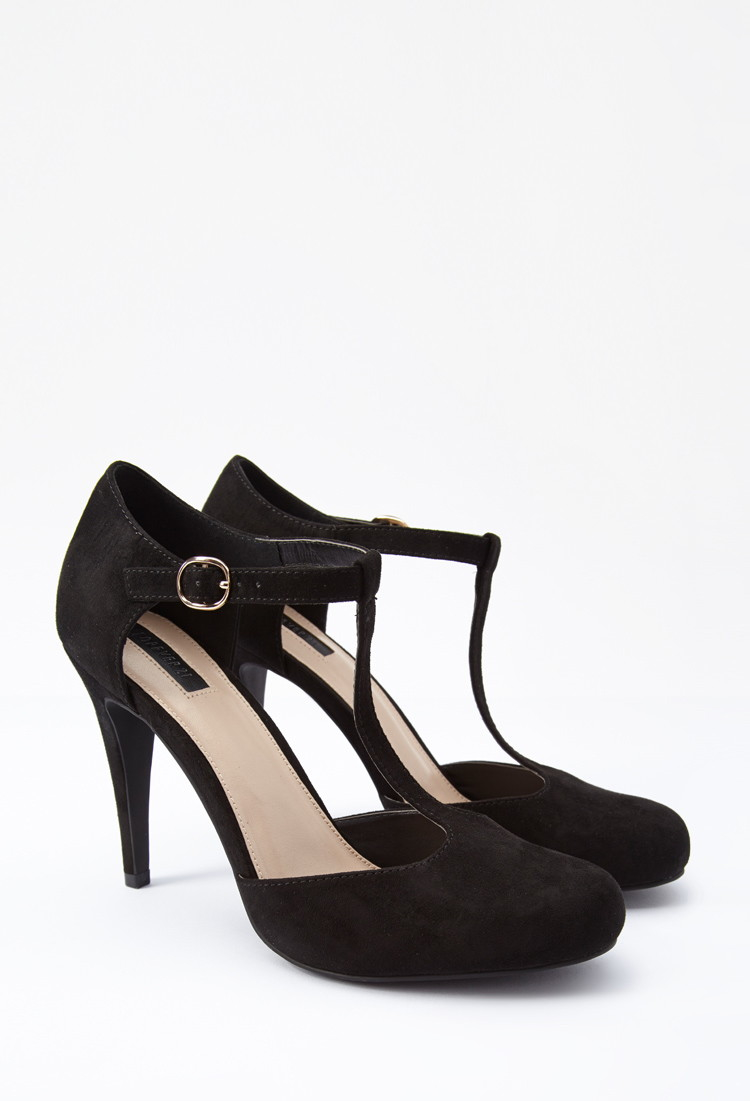 357461d4f027 Lyst - Forever 21 Faux Suede T-strap Pumps You ve Been Added To The ...