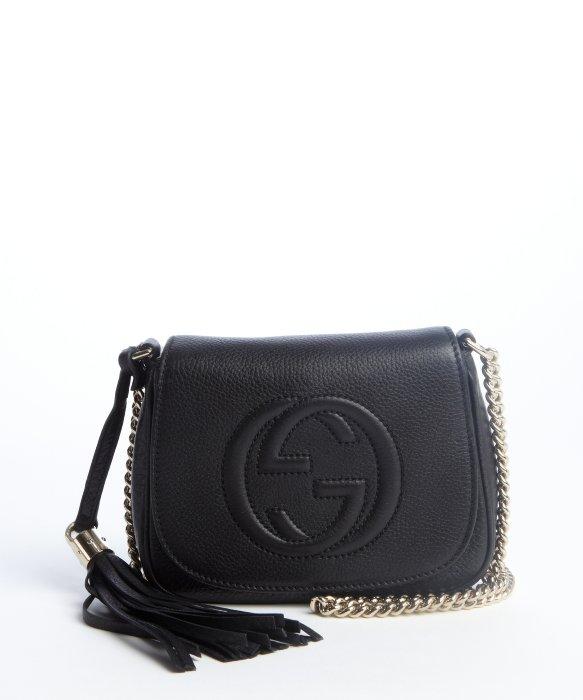 gucci black leather soho chain shoulder strap bag in