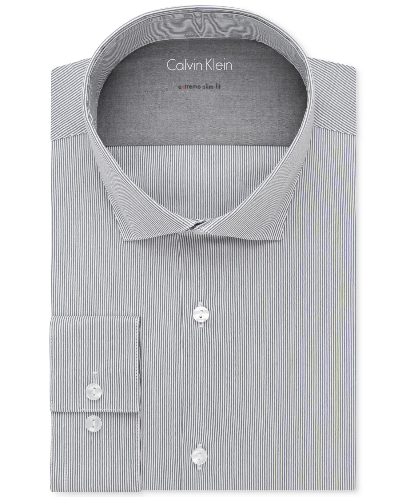 Lyst calvin klein x extra slim fit dove stripe dress for Calvin klein x fit dress shirt