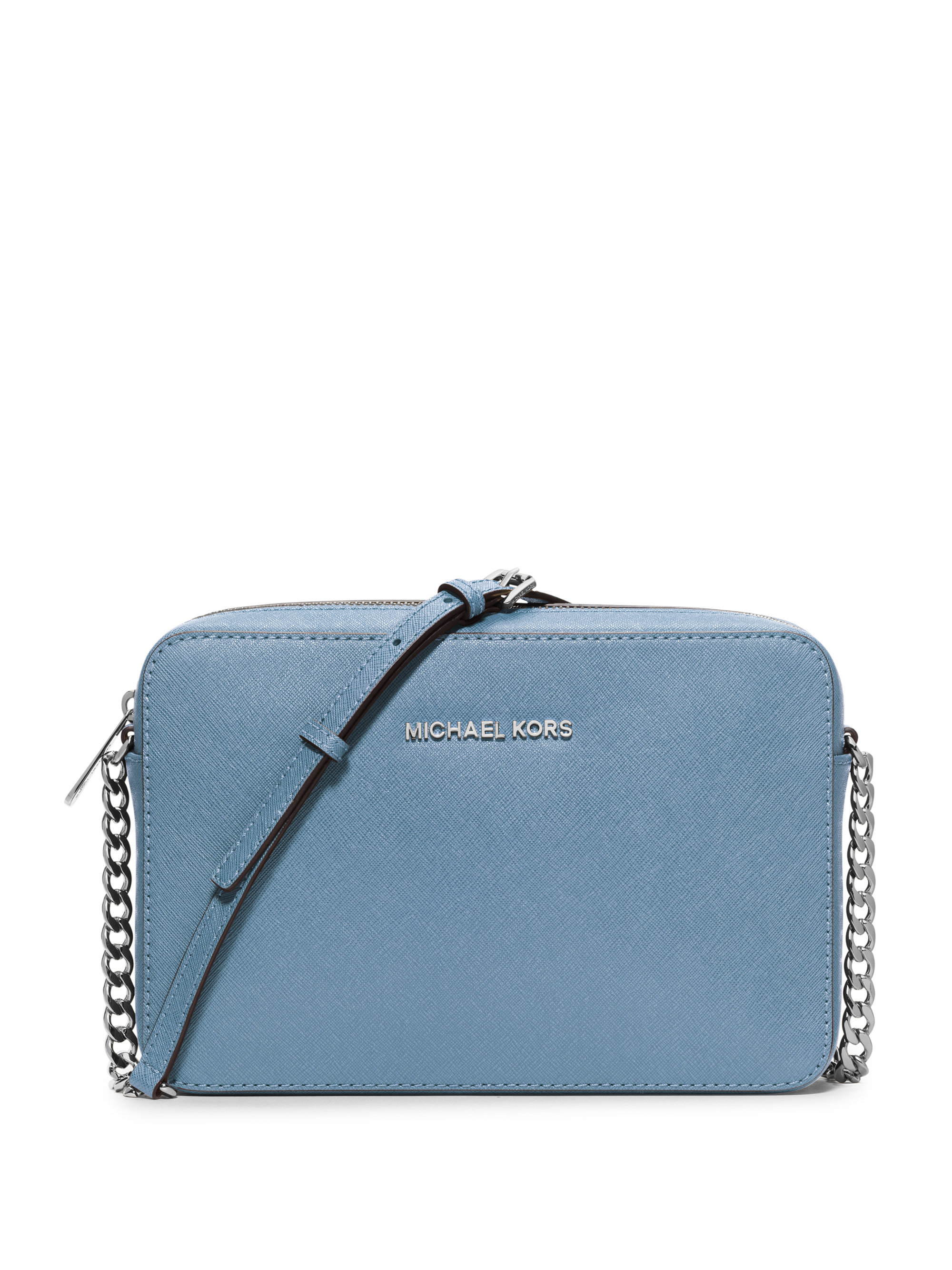 0ba6af545a0dd5 Michael Kors Jet Set Travel Large Leather Cross-Body Bag in Blue - Lyst