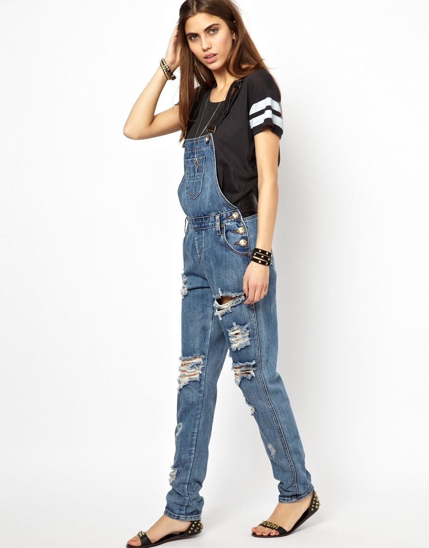 dde8f8657789 Lyst - One Teaspoon Cobain Awesome Leather Denim Dungaree in Blue