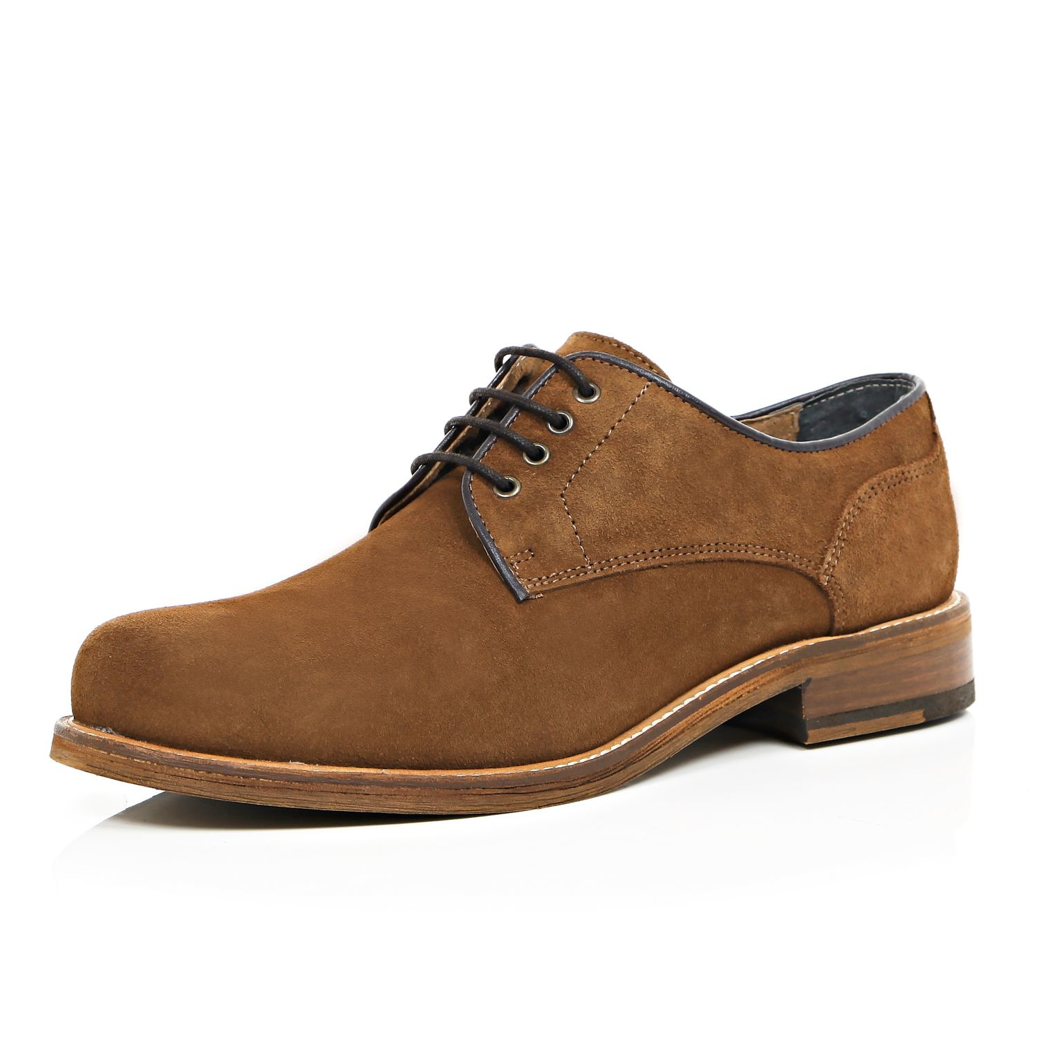 river island brown suede toe smart shoes in brown