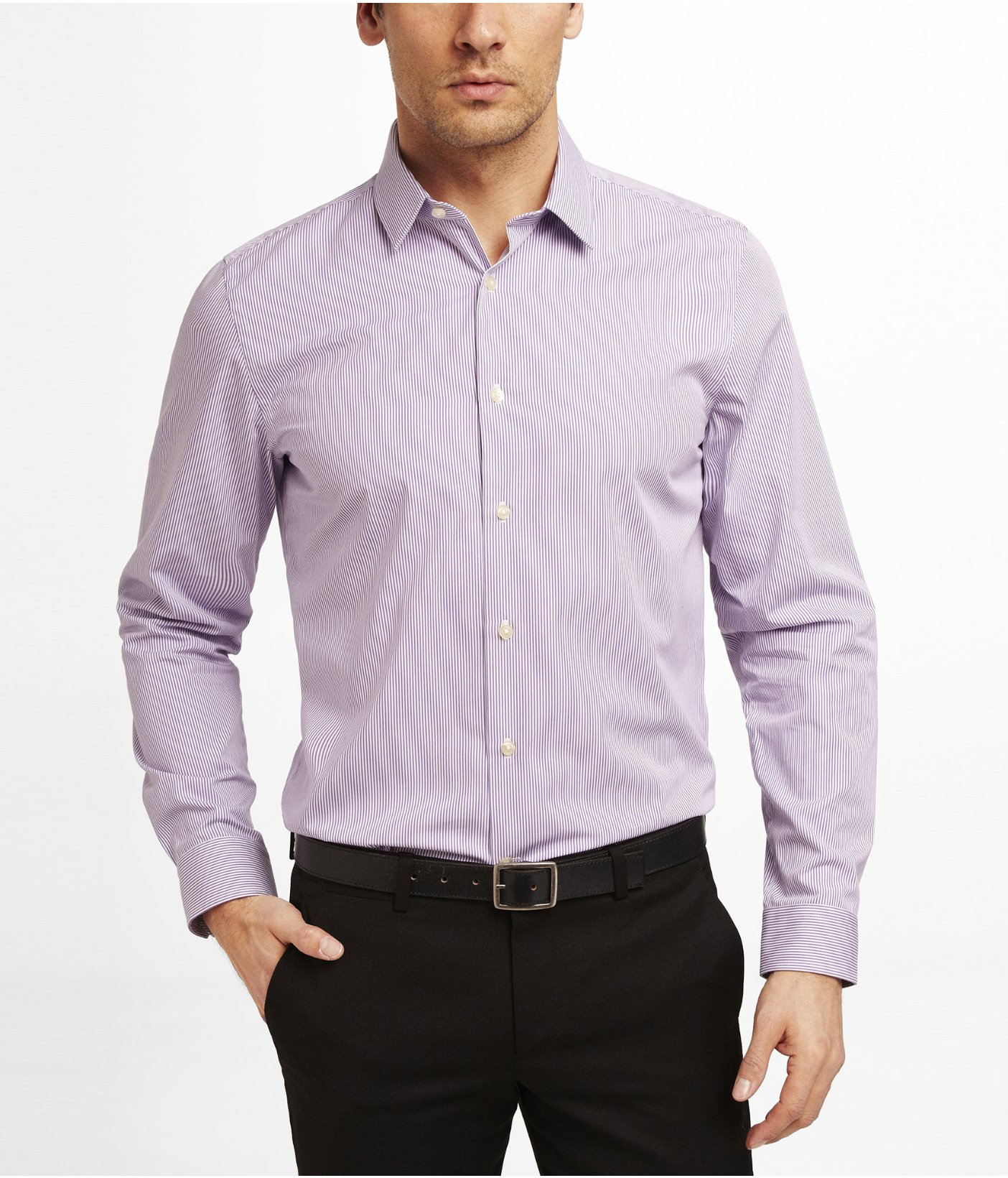Express modern fit striped dress shirt in purple for men for Purple striped dress shirt