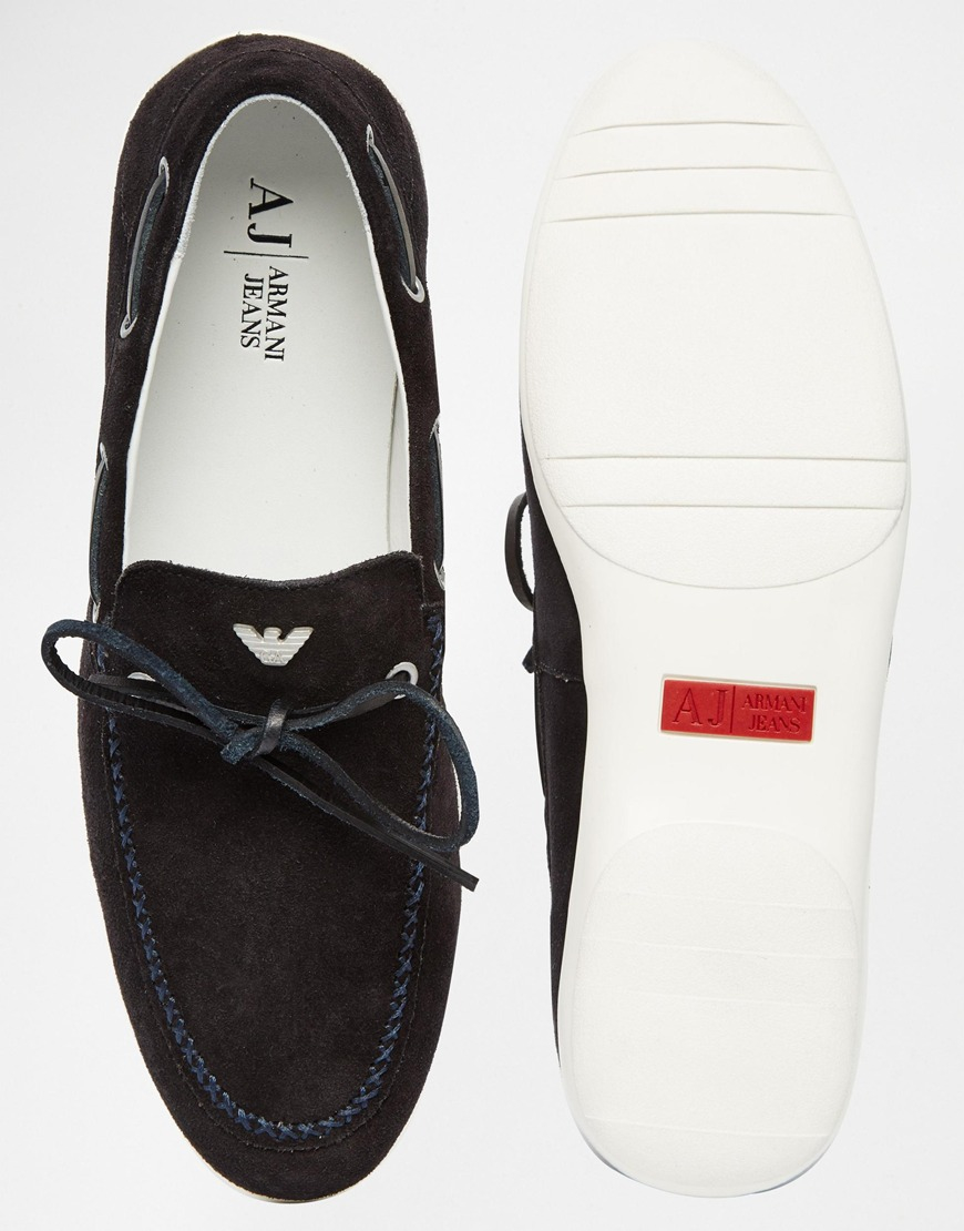 Lyst Armani Jeans Suede Loafers In Blue For Men