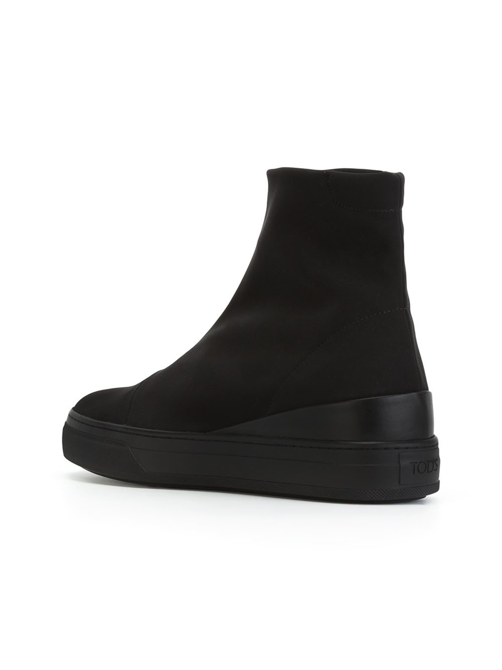 Lyst Tod S Flat Rubber Sole Boots In Black