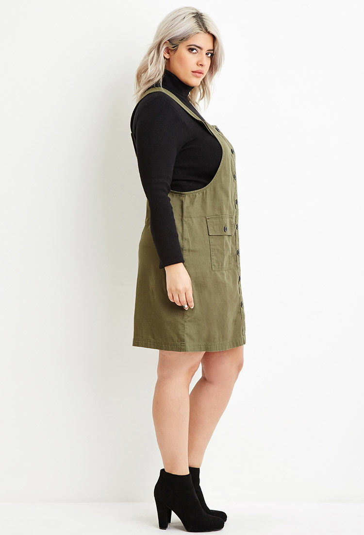 644d47a66c7e9 Lyst - Forever 21 Plus Size Cargo Overall Dress in Green