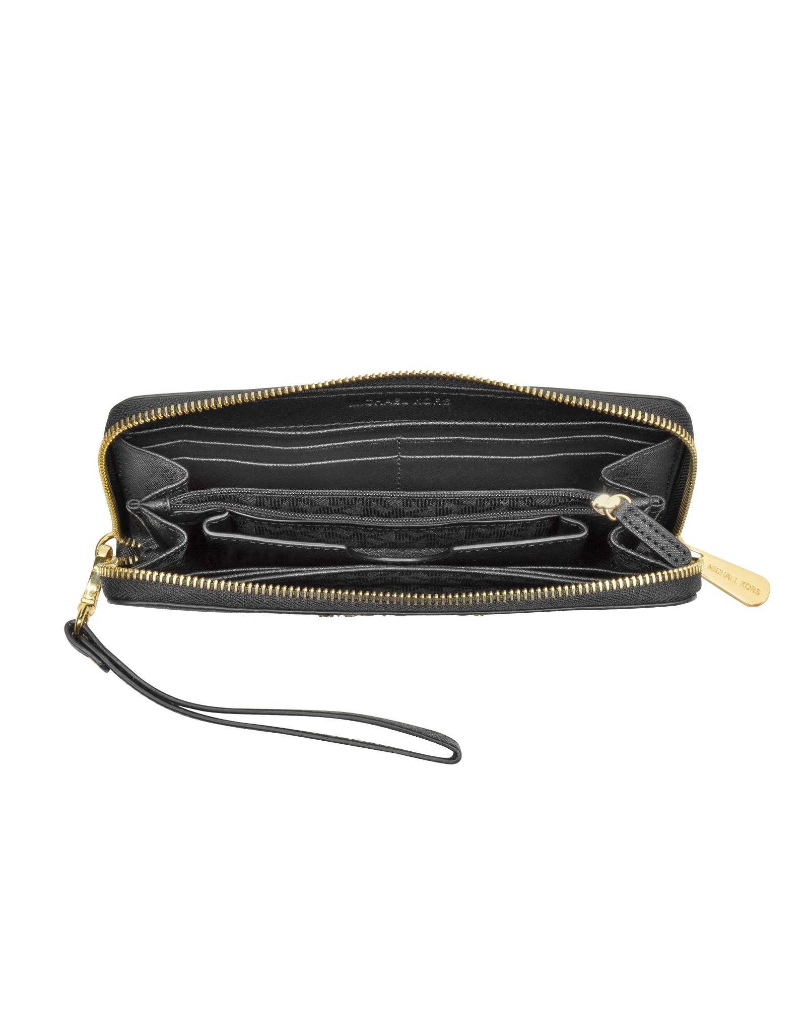 2c9ce368315187 Michael Kors Jet Set Travel Black Saffiano Leather Tech Continental ...