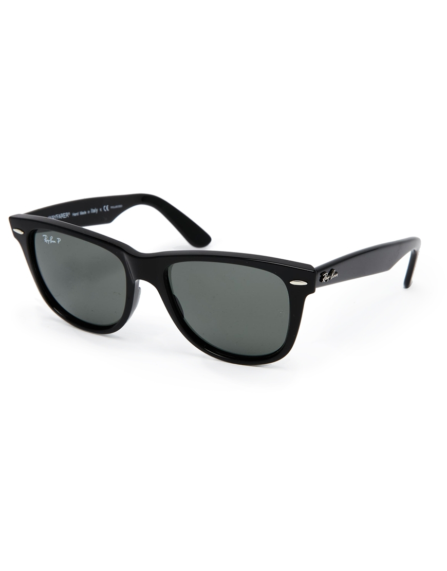 ray ban leather wayfarer sunglasses in black for men lyst. Black Bedroom Furniture Sets. Home Design Ideas