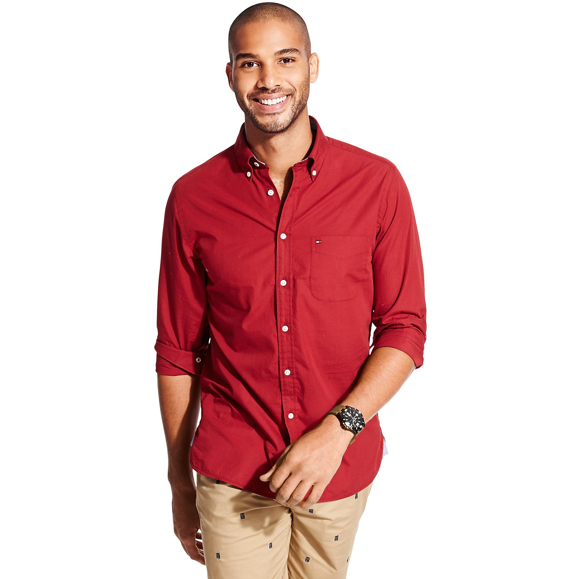 tommy hilfiger red new york fit poplin shirt for men lyst. Black Bedroom Furniture Sets. Home Design Ideas