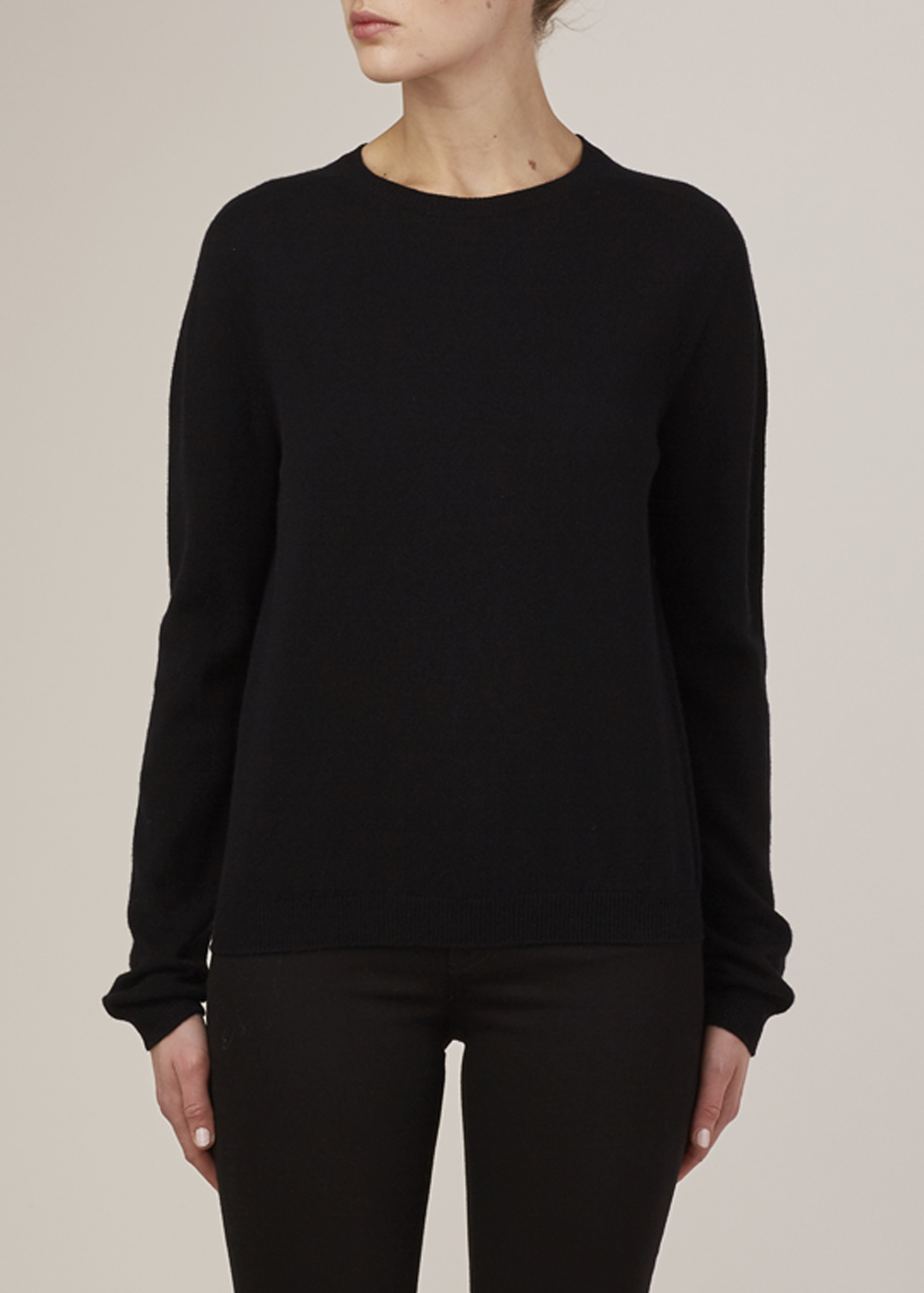 Jil sander Black Cashmere Crewneck Sweater in Black | Lyst