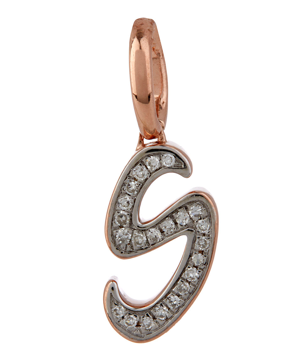 Rose Gold Diamond Alphabet Pendant E Diamond Monica Vinader CYxiJW
