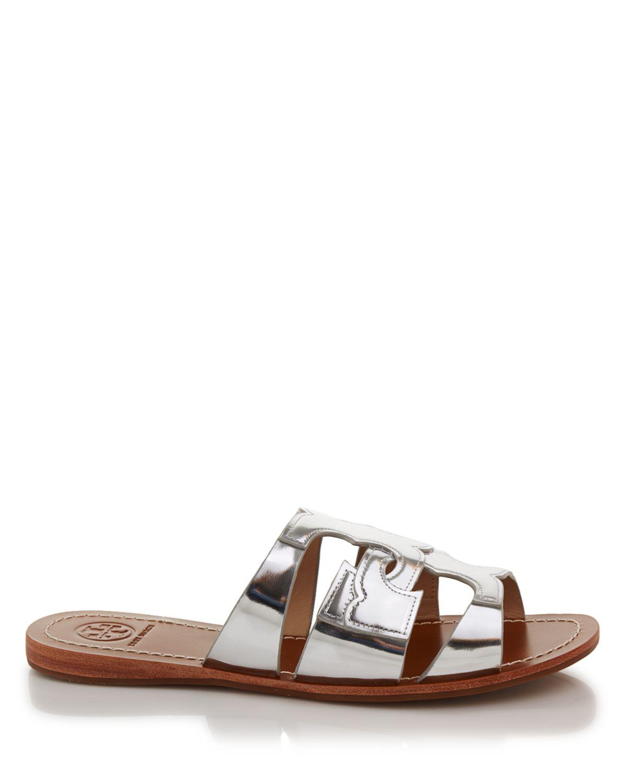 a44ef32129a0b Lyst - Tory Burch Flat Slide Sandals - Anchor Metallic in Metallic