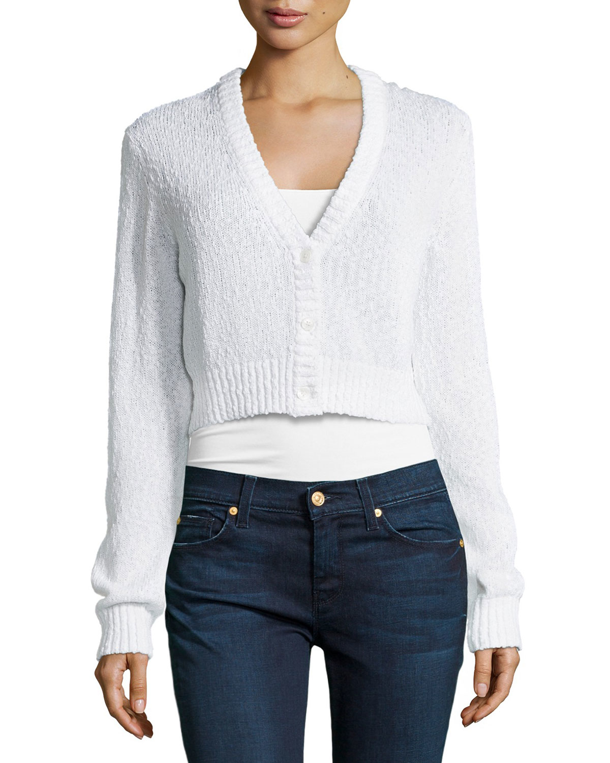 Michael kors Long-Sleeve Cropped Cardigan in White | Lyst