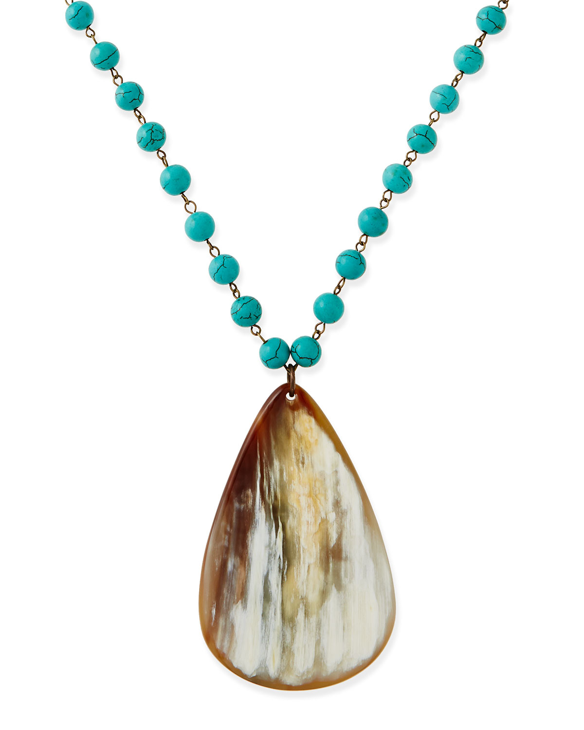 nest turquoise beaded necklace with horn teardrop in blue