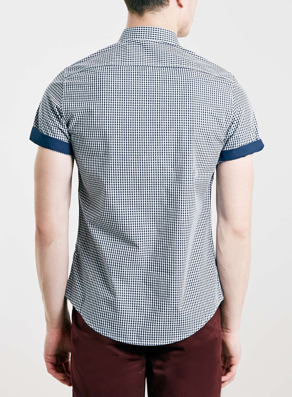Topman Navy Gingham Contrast Button Down Short Sleeve