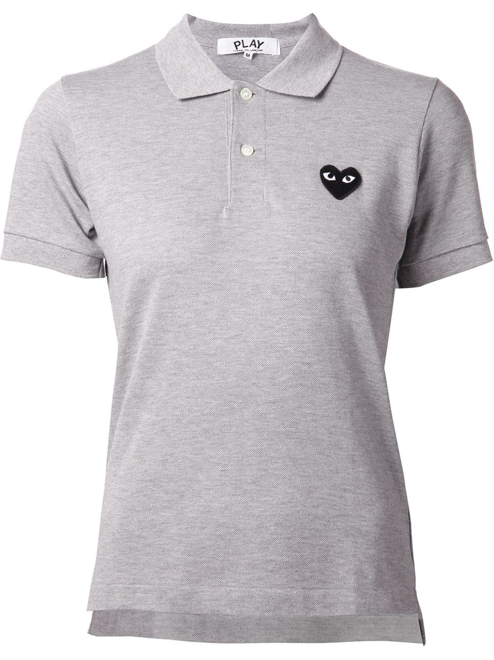 play comme des gar ons gray embroidered heart polo shirt. Black Bedroom Furniture Sets. Home Design Ideas