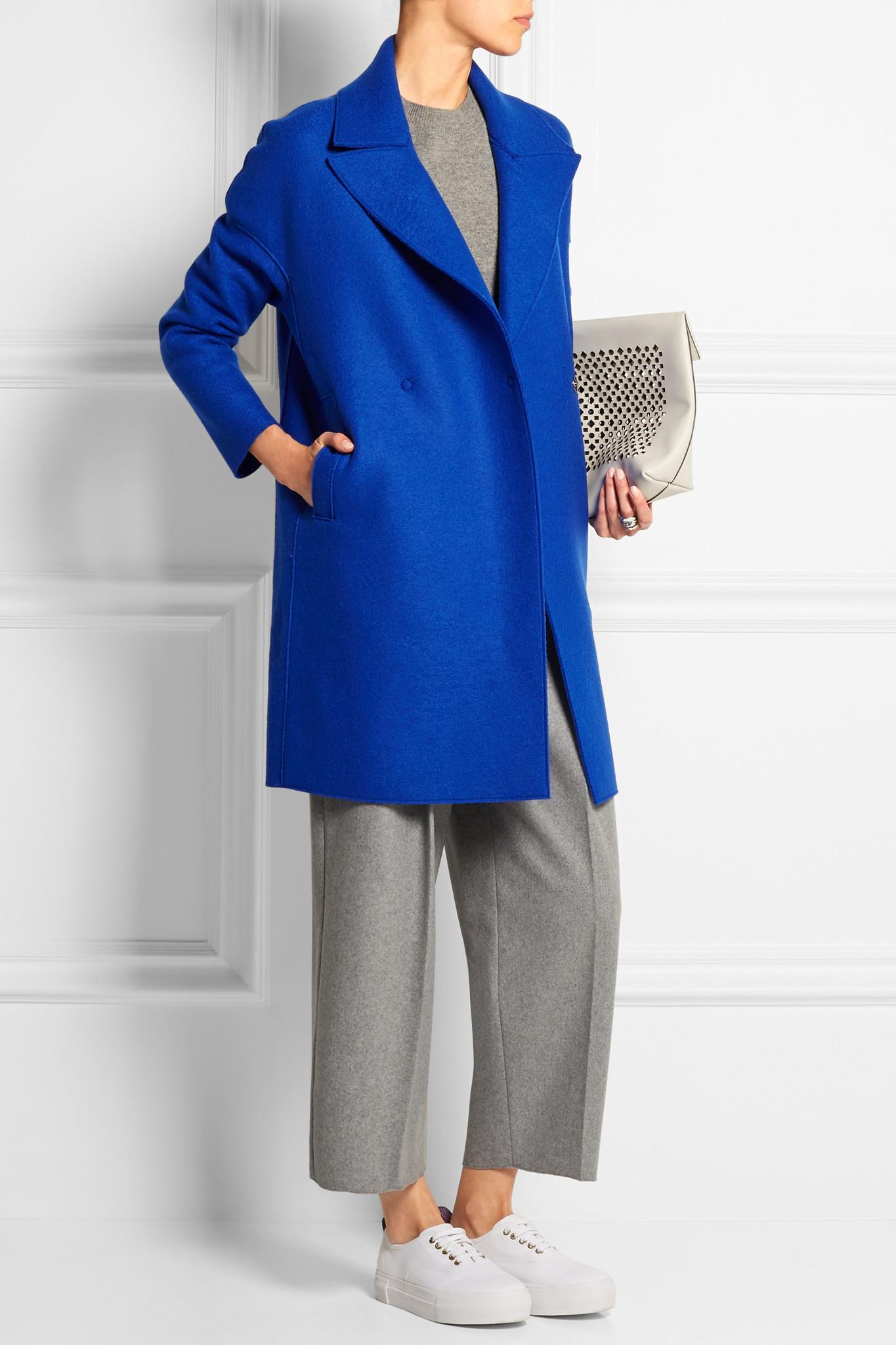lyst harris wharf london wool felt coat in blue. Black Bedroom Furniture Sets. Home Design Ideas
