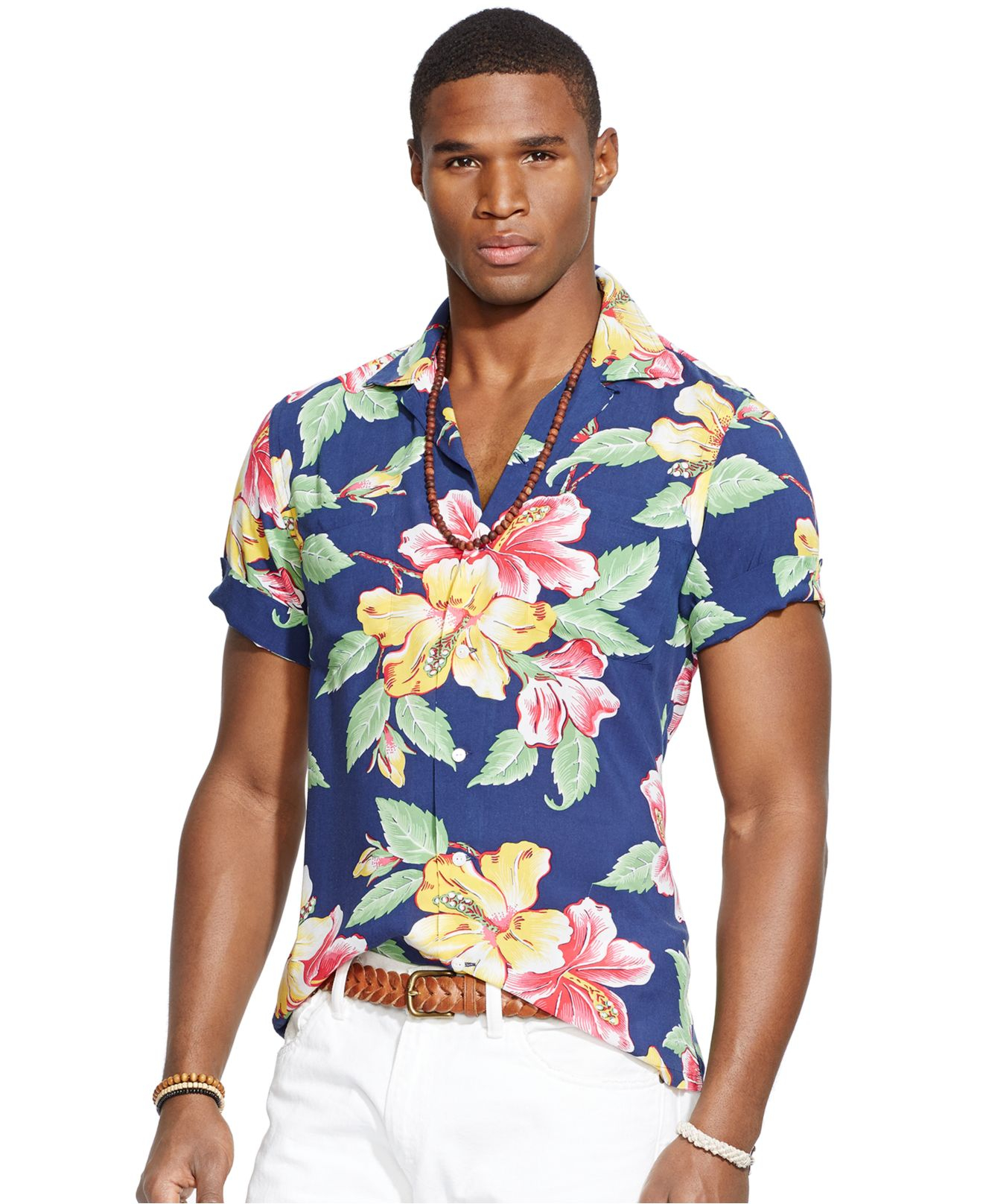 a7f42352db4cb Lyst - Polo Ralph Lauren Slim-fit Hibiscus-print Camp Shirt in Blue ...