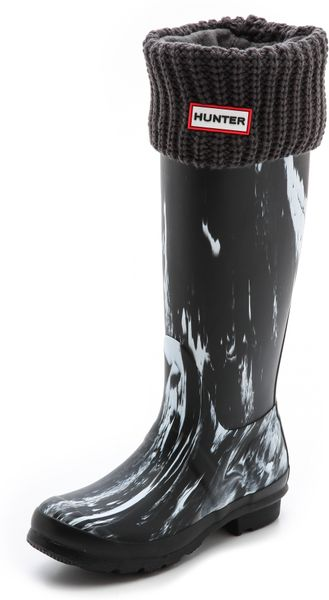 Hunter Half Cardigan Boot Socks Black In Gray Slate Lyst