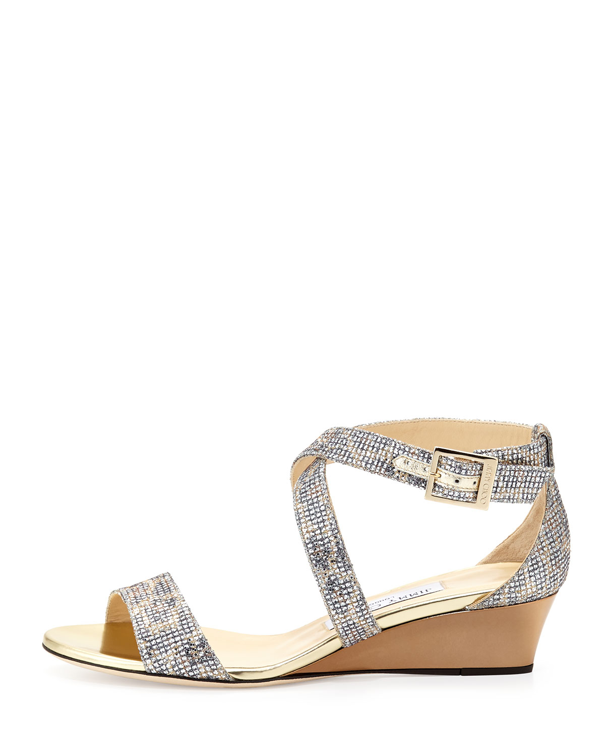 325b855ecab8 Lyst - Jimmy Choo Chiara Glitter Demi-Wedge Sandal in Metallic