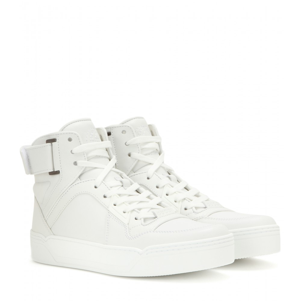 gucci leather high top sneakers in white lyst. Black Bedroom Furniture Sets. Home Design Ideas