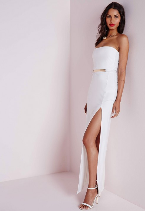 White bandeau belted maxi dress