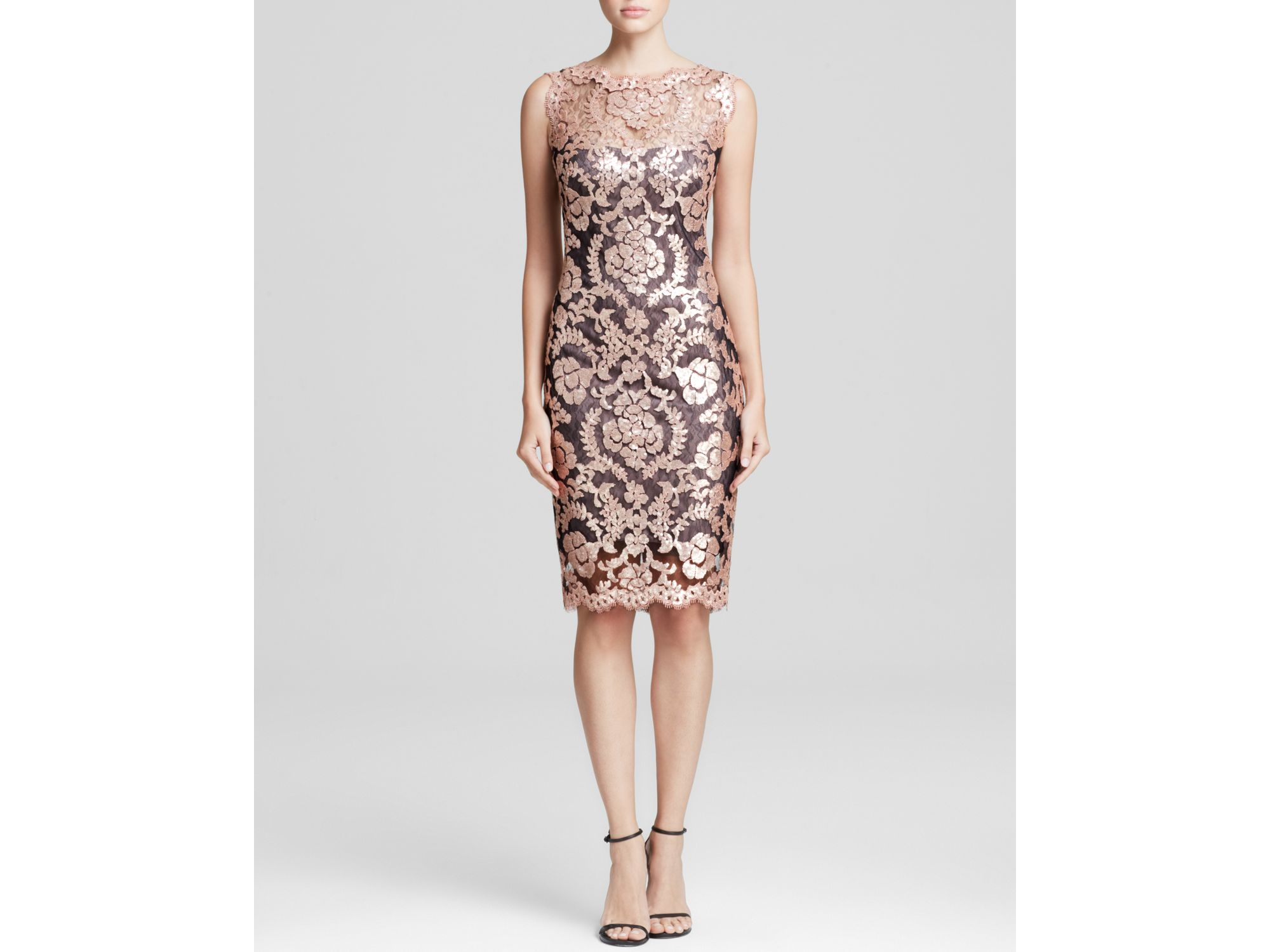 40b02582e4337 Lyst - Tadashi Shoji Petites Sleeveless Sequin Lace Dress in Pink